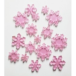 Frosted Pink Acrylic Snowflakes