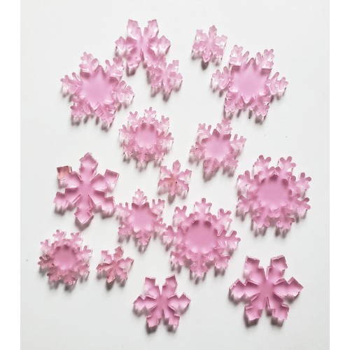 Frosted Pink Acrylic Snowflakes - Acrylic