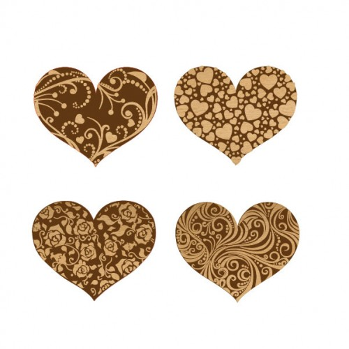 Lovers Hearts Set - Wood Veneers