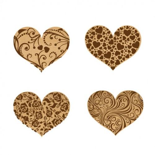 Lovers Hearts Set 2 - Wood Veneers