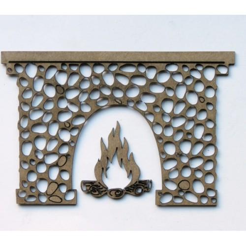 Cobblestone Fireplace - Christmas