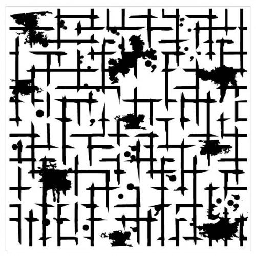 Distressed Grid Stencil - Stencils