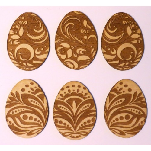 Easter Eggs Decorated (Set of 6) - Wood Veneers