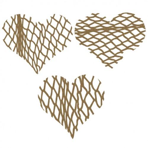 Fishnet Hearts - Chipboard