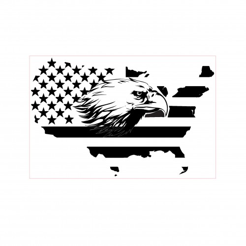 Eagle in Flag Stamp - Rubber Stamps