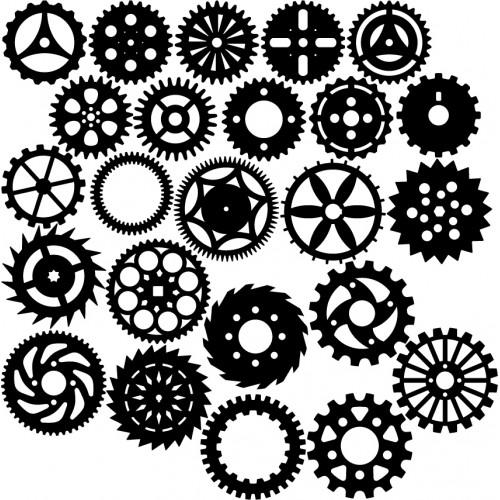Large Gear Set 2 Black - Steampunk