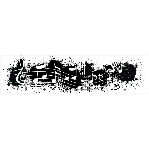 Grunge Music Note Border Stamp - Borders