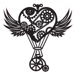 Steampunk Heart Hot Air Balloon  with Wings Stamp