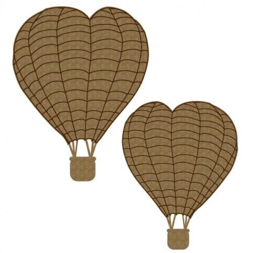 Heart Hot Air Balloons - Chipboard