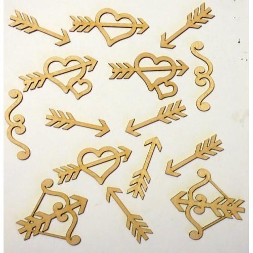 Heart Bow and arrows Set - Wood Veneers