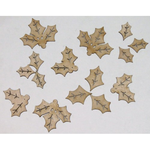Holly Leaves Set of 15 - Christmas