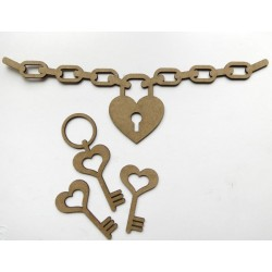 Love Lock and Key Border Set