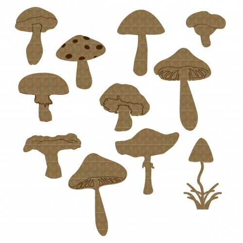 Mini mushrooms - Chipboard