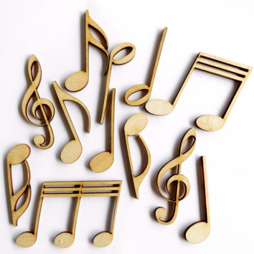 Music Notes ( Set of 12) - Wood Veneers