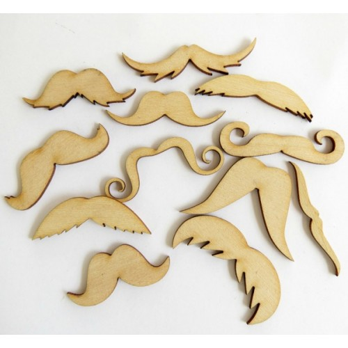 Mustaches  (Set of 24) - Wood Veneers