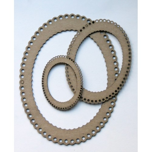 Oval Scalloped Frames - Chipboard