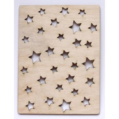 Stars 3 x 4  card - Wood Veneers