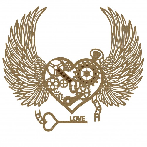 Steampunk Heart 3 with Wings - Steampunk