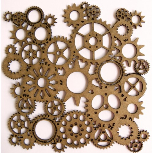 "Steampunk Gear Panel - 6"" x 6"" Lattice Panels"