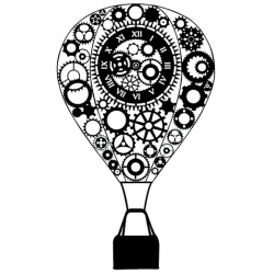 Steampunk Hot Air Balloon Stamp