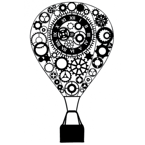 Steampunk Hot Air Balloon Stamp - Rubber Stamps