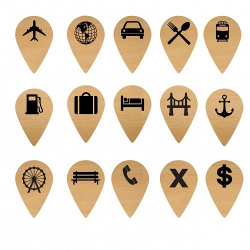 Travel Geo Tags - Wood Veneers