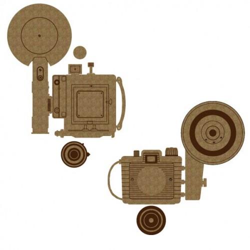 Vintage Camera Set 5 - Chipboard