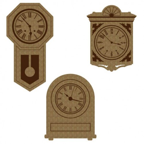 Vintage Clock Set - Chipboard