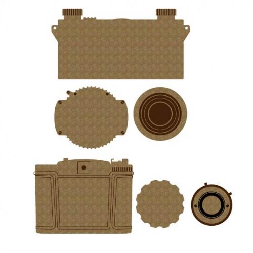 Vintage Camera Set 3 - Chipboard