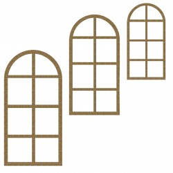 Arched Window Set of 3