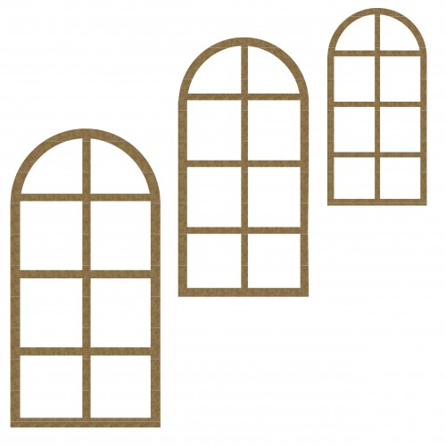 Arched Window Set of 3 - Windows and Doors