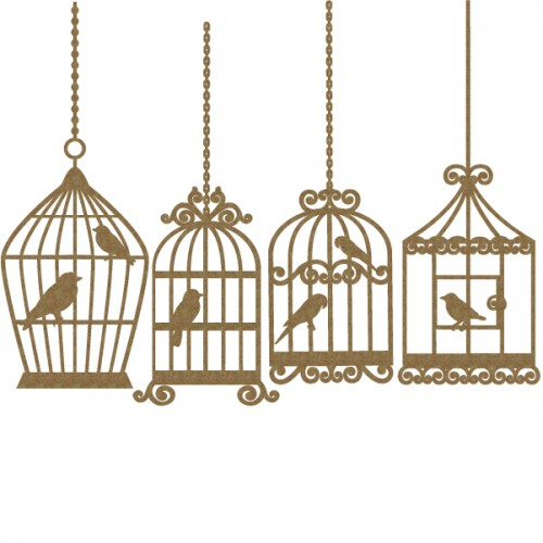 Bird Cage    4 piece set - Birds