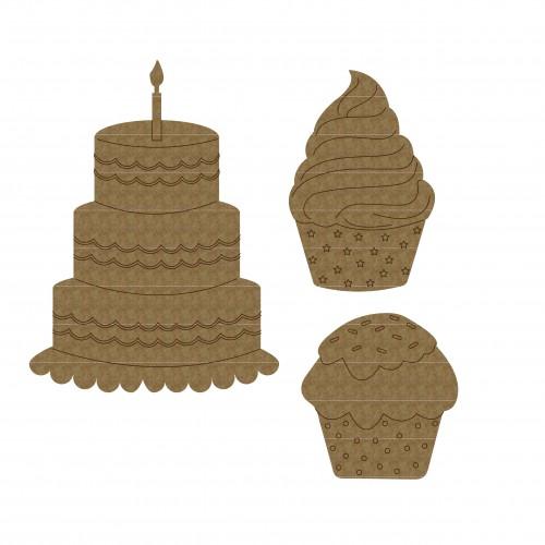 Birthday Cakes Set - Chipboard