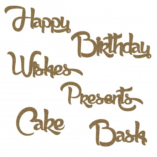 Birthday Word Set - Chipboard