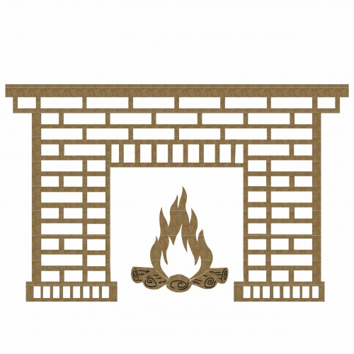 Brick Fireplace - Christmas
