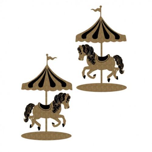 Carousel Horses - Chipboard