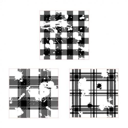 Distressed Plaid Stamp Set 1 - Rubber Stamps