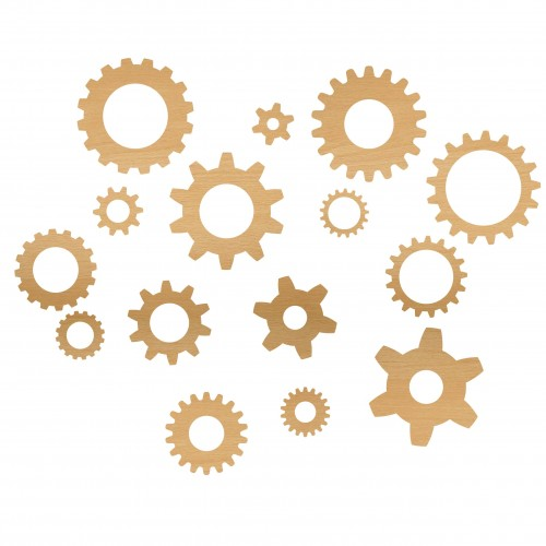 Gears (Set of 15) - Wood Veneers