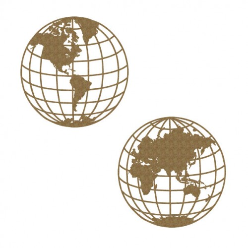 Globes 6 d - Chipboard