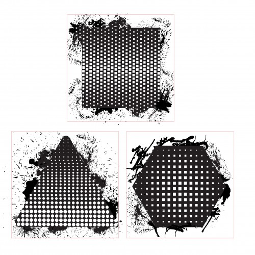 Halftone Trio Stamp 2 - Rubber Stamps