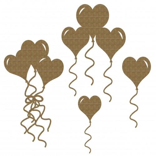 Heart Balloon Set - Chipboard