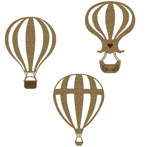 Hot Air Balloon Set 2 - Chipboard