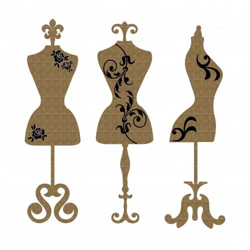 Mini Dress Form Set of 6 - Chipboard