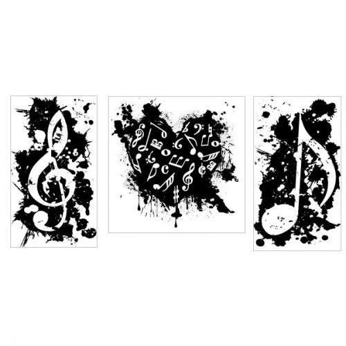 Music Note Trio Stamp - Rubber Stamps