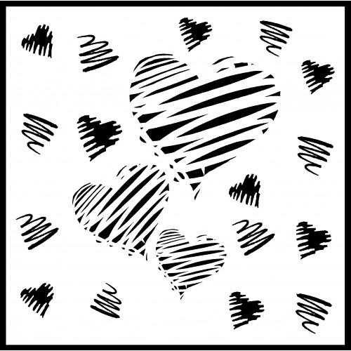 Scribble Heart Stencil 2 - Stencils