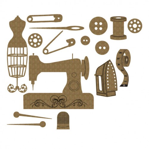 Sewing Machine Set - Chipboard