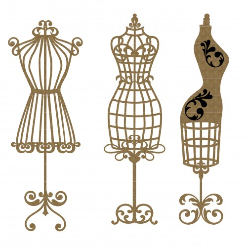 Dress Form Set of 3 - Chipboard