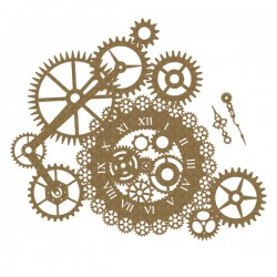 Steampunk Clock and Gear Cluster