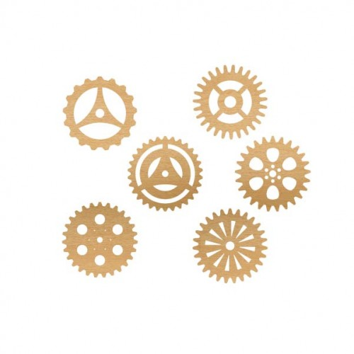 Steampunk Gears  (Set of 6) - Wood Veneers