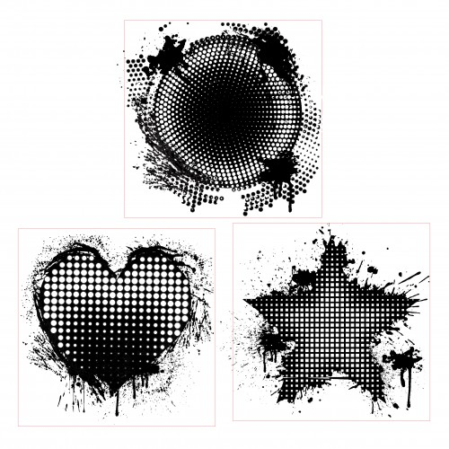 Halftone Trio Stamp 1 - Rubber Stamps